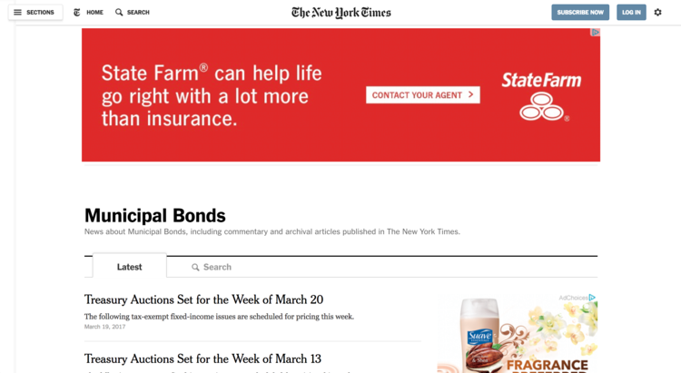 The New York Times' Municipal Bonds Section